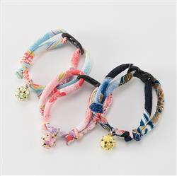 Chirimen Cat Collars with Clover Bell
