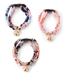 Chirimen Sakura Cat Collars