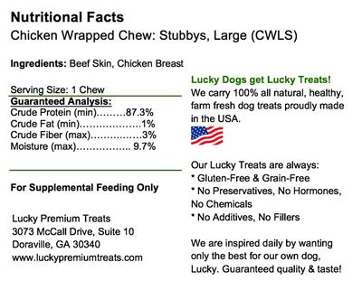 Stubby's (for Large Dog) - Chicken Wrapped Rawhide Dog Treats