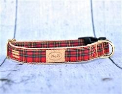 Small Red Plaid Collars and Leads