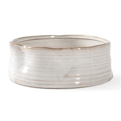 RIBBED WHITE PINCHED PET BOWL
