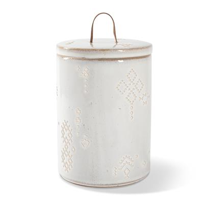 TRIBAL MARKS WHITE ARTISAN TREAT JAR