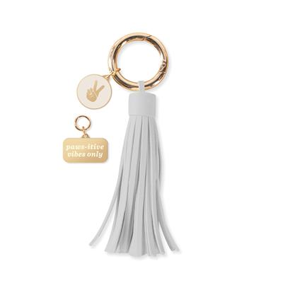 PAWS-ITIVE VIBES COLLAR CHARM AND TASSEL KEY CHAIN SET
