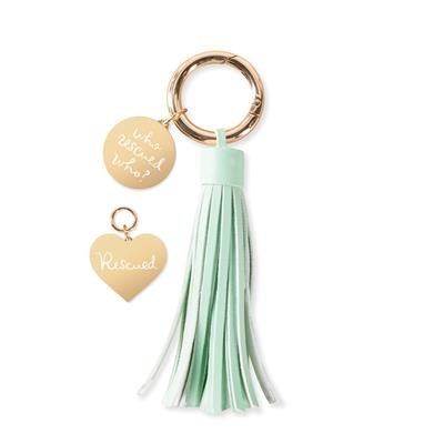 WHO RESCUED WHO COLLAR CHARM AND TASSEL KEY CHAIN SET