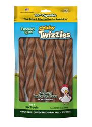 EMERALD PET CHICKY TWIZZIES DOG TREAT 6PK/9IN