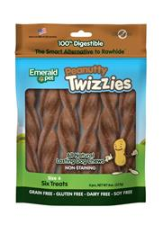 EMERALD PET PEANUTTY TWIZZIES DOG TREAT 6PK/6IN
