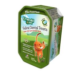 EMERALD PET FELINE DENTAL TREAT TUB CATNIP 11OZ