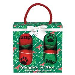 Grriggles Naughty or Nice Tennis Ball Gift Pack