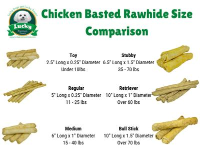Large Dog (Retriever) Size Chicken Basted Rawhides, 15 Count per Bag