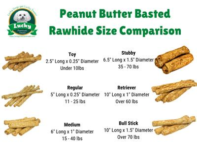 Toy Size Peanut Butter Basted Rawhides