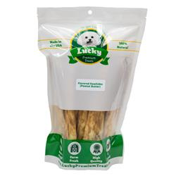 Large Dog (Retriever) Size Peanut Butter Basted Rawhides, 15 Count per Bag