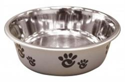 ETHICAL PRODUCTS BARCELONA STAINLESS STEEL PAW PRINT BOWL SILVER 8 OZ