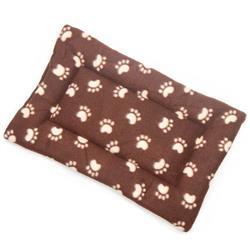Brown Paw Printed Fleece Fabric Flat Pet Bed