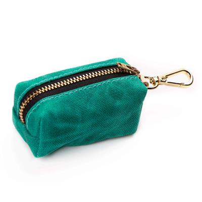 Jade Waxed Canvas Waste Bag Dispenser (choice of zipper color)