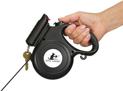 Safe Leash Retractable Dog Walking Leash with 1/2 oz. Eliminator Pepper Spray, Black