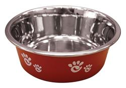Ethical Products Barcelona Stainless Steel Paw Print Bowl Raspberry 16oz