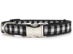 Buffalo Plaid Glacier White Dog Collar Silver Metal Buckles