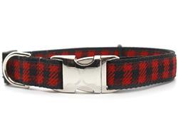 Buffalo Plaid Sierra Red Dog Collar Silver Metal Buckles