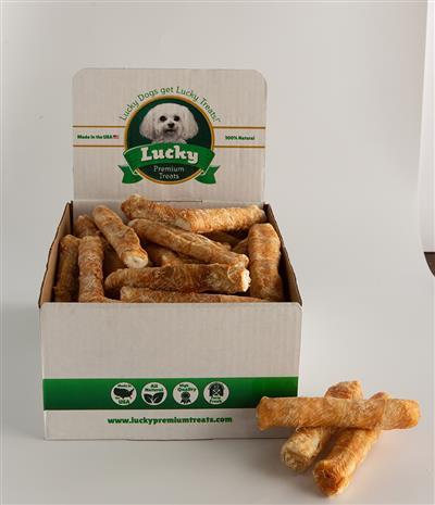 Bulk Box of 60 Medium Rawhide Treats - Choose Plain, Wrapped or Basted