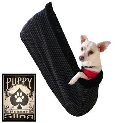 "Black Pinstripe - Puppy ""Hold'em"" Sling"
