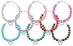 Heart and Pearl Crystal Necklaces