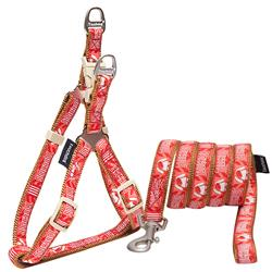 Touchdog Red 'Funny Bone' Tough Stitched Dog Harness and Leash