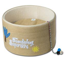Touchcat 'Claw-ver Nest' Rounded Scratching Cat Bed w/ Teaser Toy