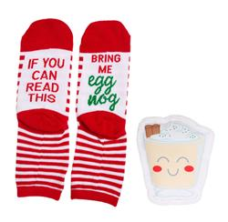 Sock & Dog Toy Gift Set, Egg Nog