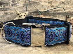 Kashmir Peacock Blue Extra Wide Dog Collar
