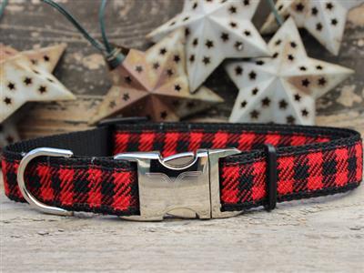 Buffalo Plaid Sierra Red Dog Collar Rose Gold Metal Buckles