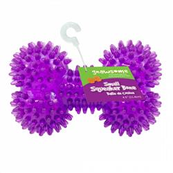 Gnawsome Spiky Squeaker Bone Dog Toy Cleans Teeth and Gums - Assorted Colors
