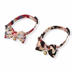 Chirimen Kimono Bow Tie Cat Collar