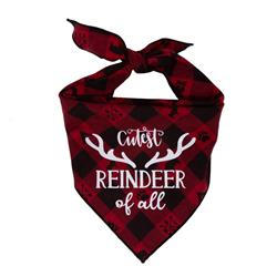 Christmas Dog Bandana - Black & Red Plaid Flannel  -CUTEST REINDEER OF ALL