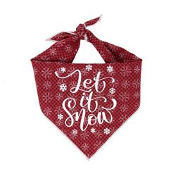 Christmas Dog Bandana - Red Plaid   - LET IT SNOW