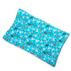Tossed Dogs on Teal Cotton Fabric Flat Pet Bed