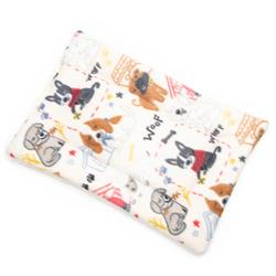 Sketched Dogs on Tan Printed Fleece Fabric Flat Pet Bed