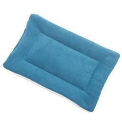 Blue Solid Fleece Fabric Flat Pet Bed