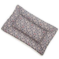 Gray Paws in Hearts Cotton Fabric Flat Pet Bed