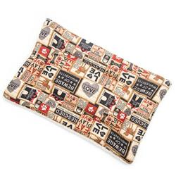 Light Khaki Collage Cotton Fabric Flat Pet Bed