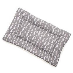 Gray Silhouette Cotton Fabric Flat Pet Bed