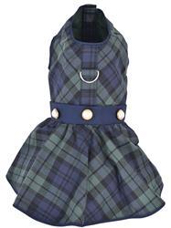 Scottish Taffeta Dress, Green/Blue Plaid