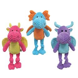 """fouFIT™ Knotted Dragon Toy with 5 Hidden Squeakers (10"""" - 15"""") - Case of 3"""