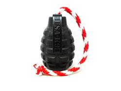 USA-K9 by SodaPup Magnum Black Natural Rubber Grenade Chew Toy, Reward Toy, Tug Toy, Retrieving Toy and Treat Dispenser for The Most Aggressive Chewers, Guaranteed Tough, Made in USA, Black, Large