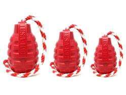 USA-K9 by SodaPup - Natural Rubber Grenade Chew Toy, Reward Toy, Tug Toy, Retrieving Toy and Treat Dispenser for Aggressive Chewers, Guaranteed Tough, Made in USA, Red, Large