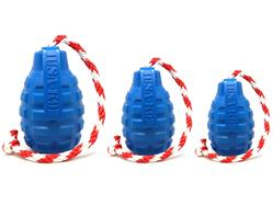 USA-K9 by SodaPup - Natural Rubber Grenade Chew Toy, Reward Toy, Tug Toy, Retrieving Toy and Treat Dispenser for Aggressive Chewers, Guaranteed Tough, Made in USA, Blue, Large