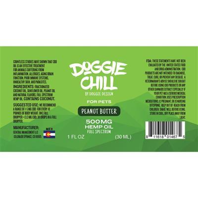 Doggie Chill Full-Spectrum Hemp Oil for Pets - Peanut Butter - 1 Fluid Ounce (30mL)