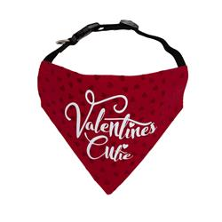 Valentines Day Dog Bandana  - Red Flocked Hearts |  BUY 10 GET 1 FREE
