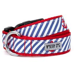Navy Stripe Anchors Collar & Lead Collection