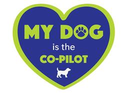 """The Dog is my co-pilot - 3"""" Sticker"""