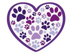 "Heart w/all over paws - 3"" Sticker"